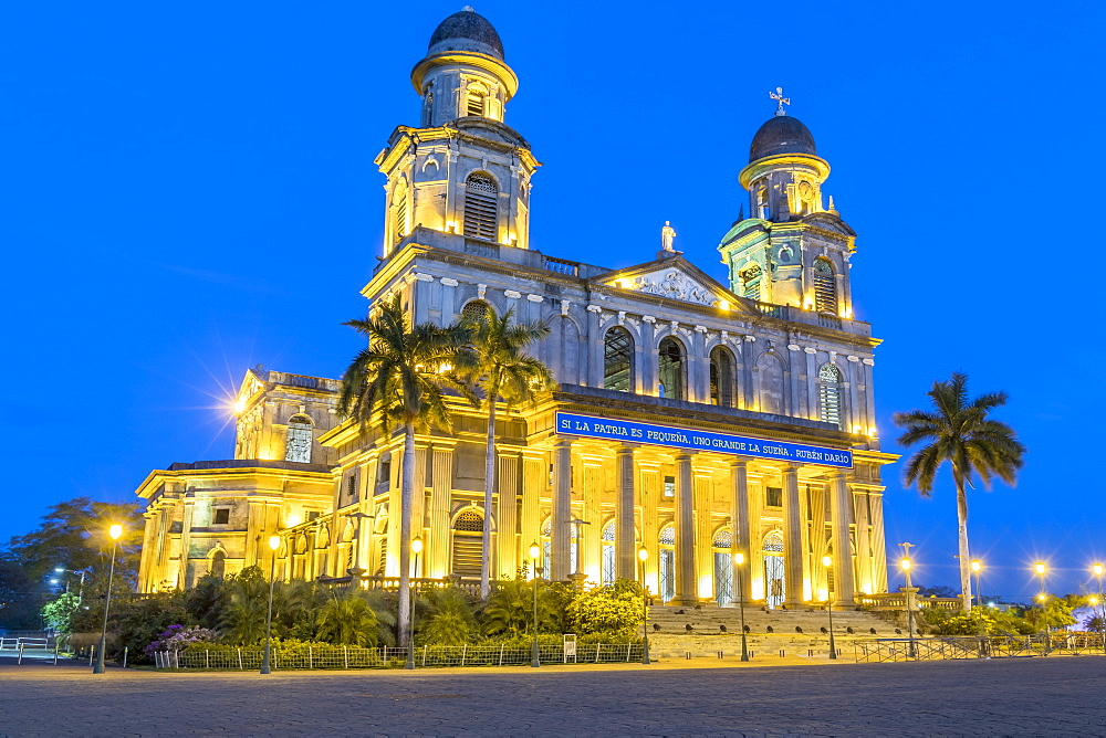 Ruins of the old cathedral Santiago de Managua at night, Managua, Nicaragua, Central America