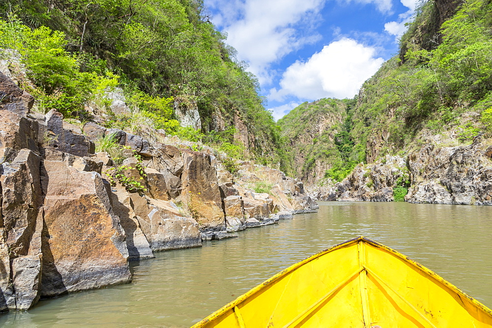 Small boat entering the Somoto Canyon, Nicaragua, Central America