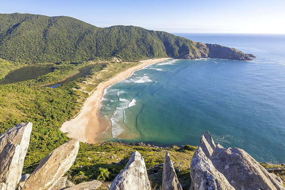 View over Lagoinha do Leste Beach from the top of Crown Hill (Morro da Coroa), Florianopolis, Santa Catarina, Brazil