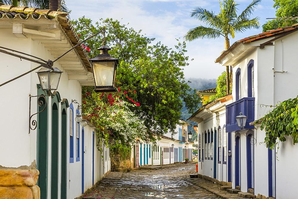 Colonial buildings in the historical centre of Paraty (Parati), Rio de Janeiro, Brazil