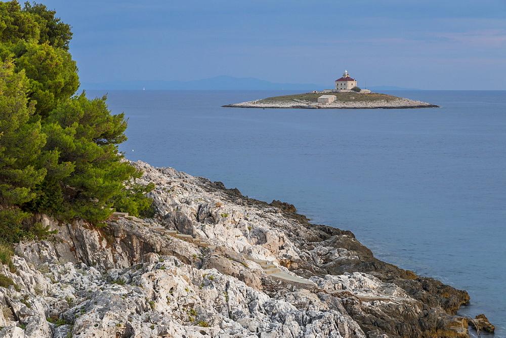 View to the lighthouse on Pokonji Dol islet near Hvar Town, Croatia, Europe
