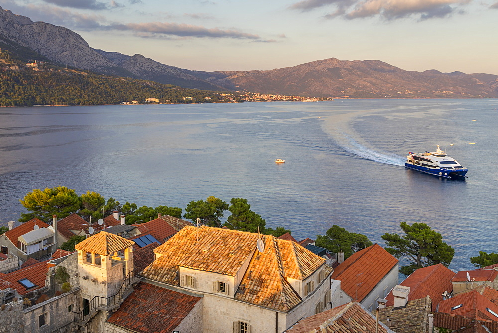 View from the bell tower of the cathedral inside the old town of Korcula over the bay