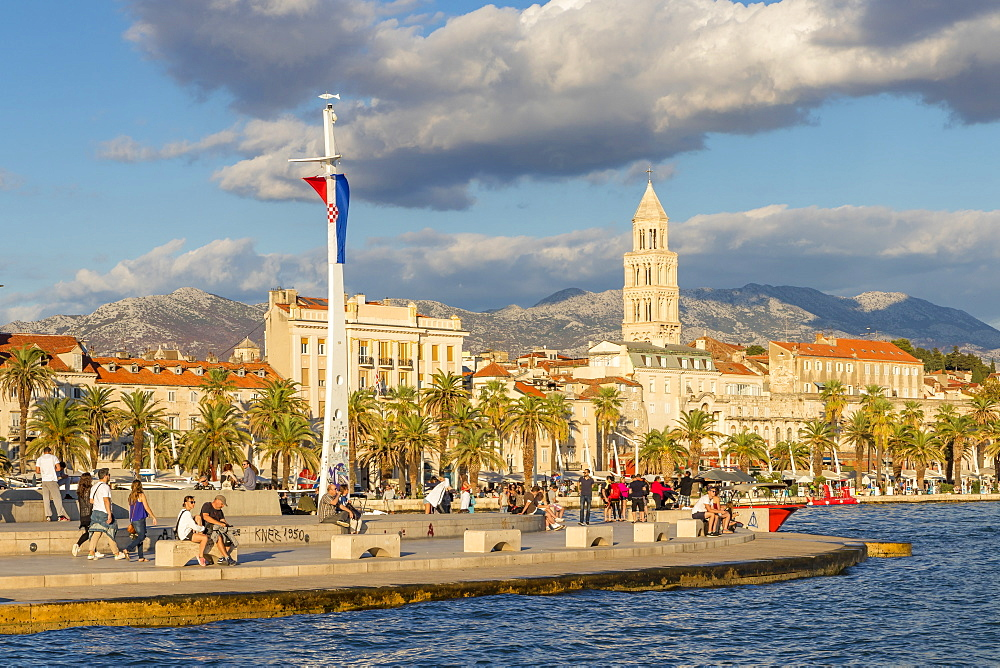 View from the seaside promenade (Riva) to the old town of Split, Croatia, Europe