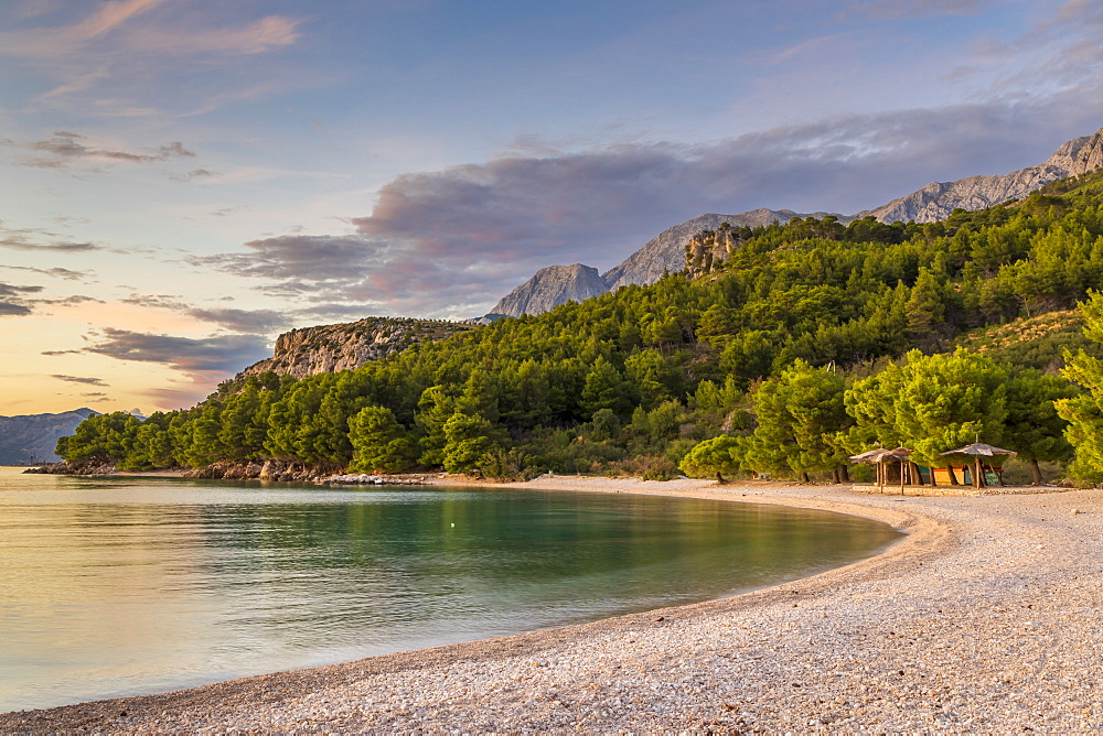 The Cvitacka beach near Makarska at sundown, Croatia, Europe