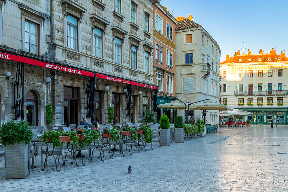 The Narodni Square in the old town of Split at first sunlight