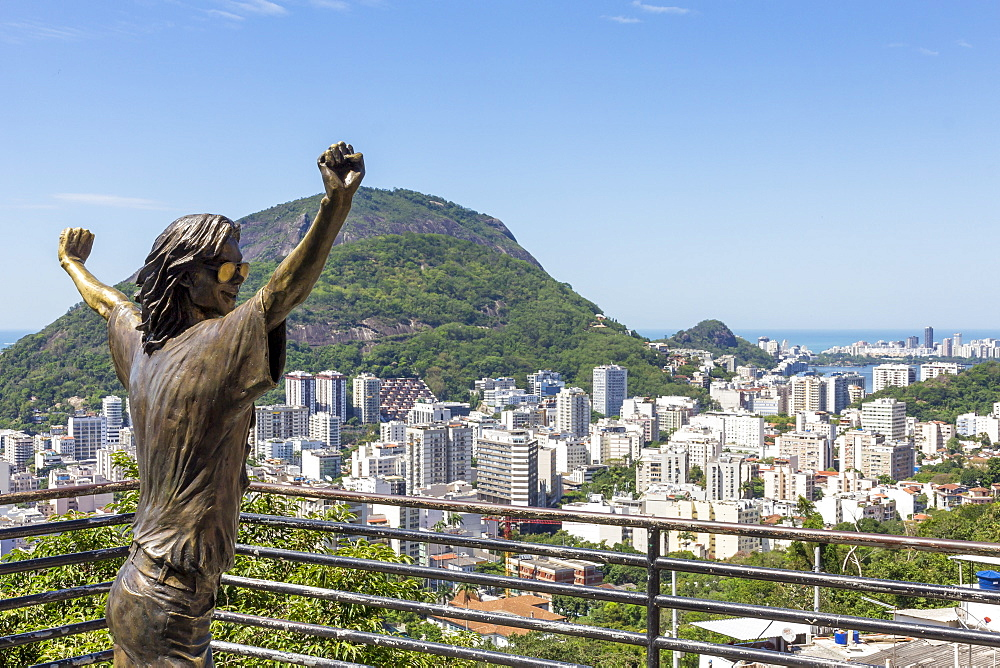 Statue of Michael Jackson at the lookout atop Santa Marta Favela, Rio de Janeiro, Brazil, South America