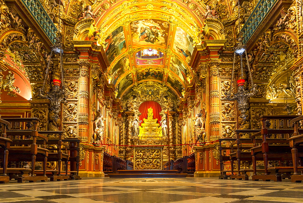 Interior of the church at Monastery Sao Bento, Rio de Janeiro, Brazil, South America