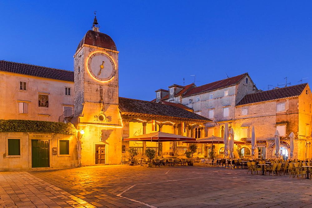 Clock tower of the City Loggia of Trogir at dawn