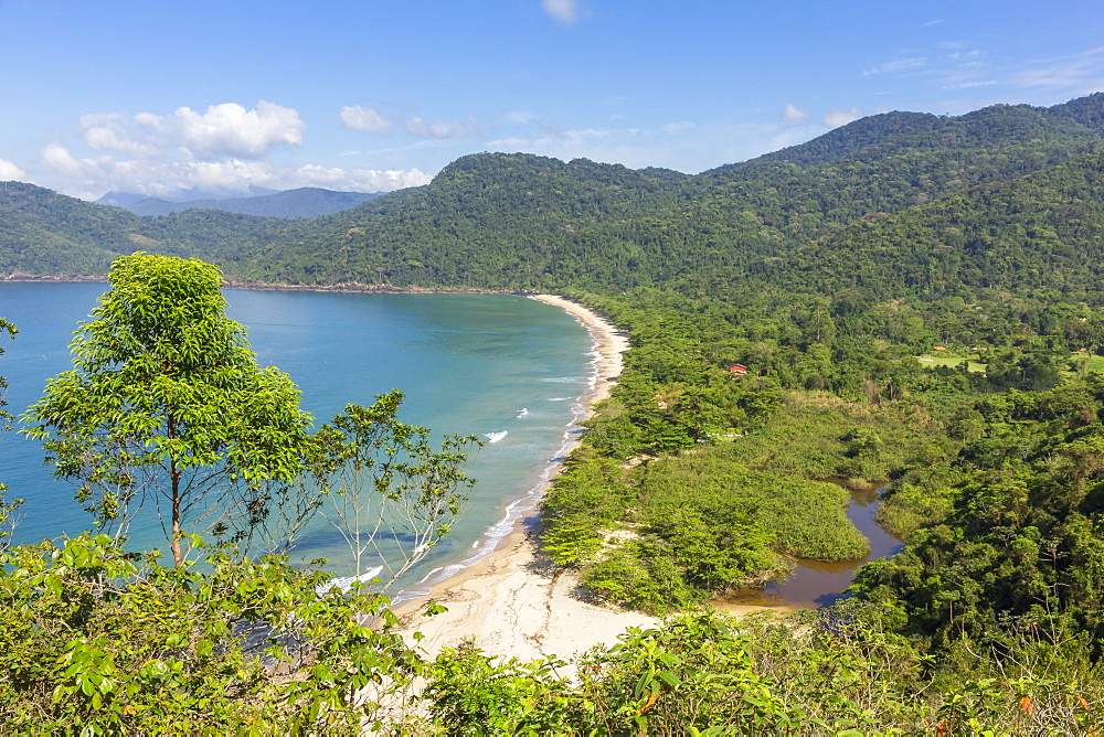 Elevated view over Praia do Sono beach near Paraty, Rio de Janeiro, Brazil, South America