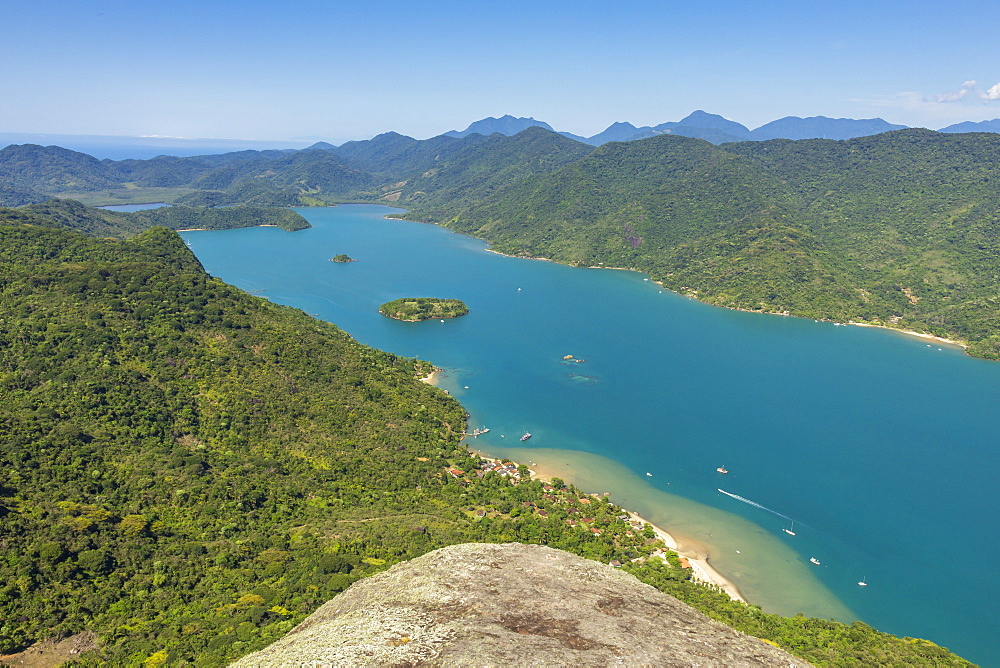 Elevated view from Sugar Loaf peak over the fjord-like bay, Saco do Mamangua, Paraty, Rio de Janeiro, Brazil, South America