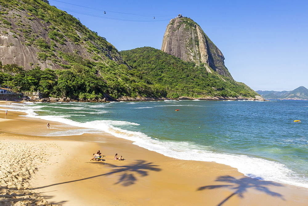 View from Praia Vermelha (Red Beach) to the Sugarloaf Mountain, Rio de Janeiro, Brazil, South America