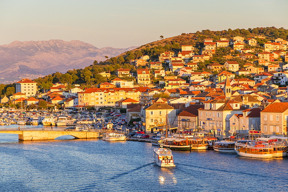View from the Kamerlengo Castle over Ciovo Island at sunset, Croatia, Europe