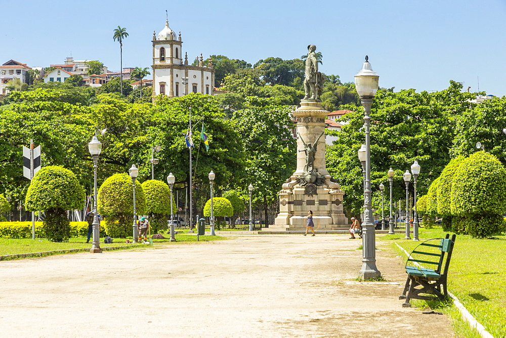 View from Paris Square to the Church of Our Lady of Glory Outeiro, Rio de Janeiro, Brazil, South America