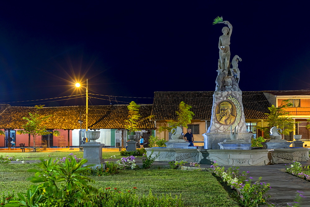 Night shot of the Xalteva Square, Granada, Nicaragua, Central America