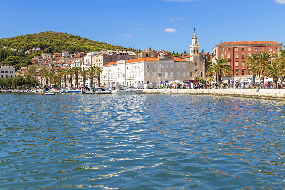 The seaside promenade (called Riva) and Marjan Hill, Split, Croatia