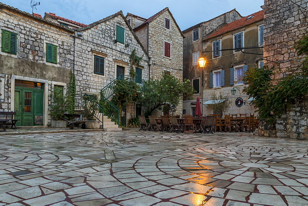 Small square in the old town of Stari Grad, Hvar Island, Croatia, Europe