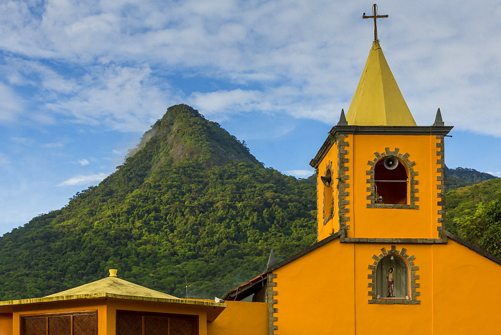 The Church of San Sebastian and the Parrot Peak (Pico do Papagaio), Vila do Abraao, Ilha Grande, Rio de Janeiro, Brazil