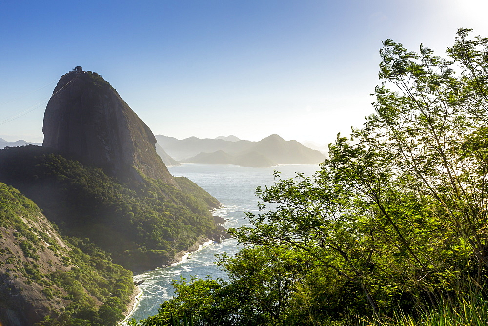 The Sugarloaf Mountain seen from Babilonia Hill (Morro da Babilonia), Rio de Janeiro, Brazil, South America