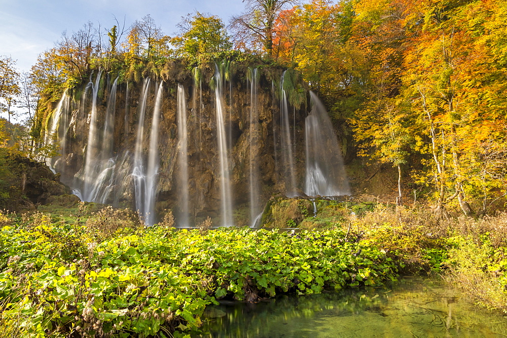 Galovac Waterfall inside Plitvice Lakes National Park during autumn