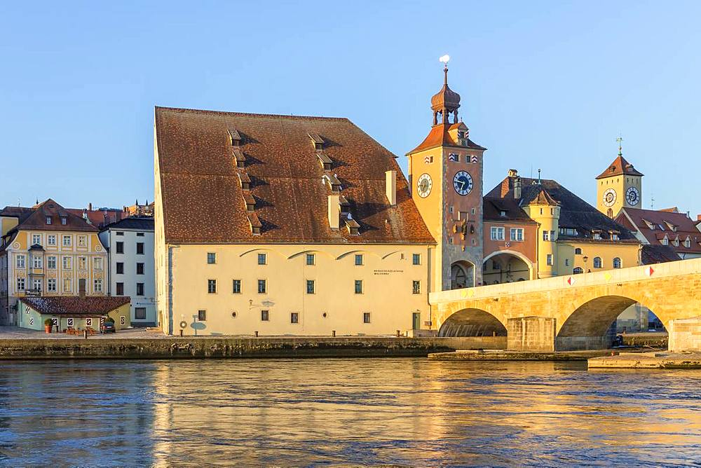 View to the Stone Bridge and the Bridge Tower, Regensburg, Bavaria, Germany, Europe
