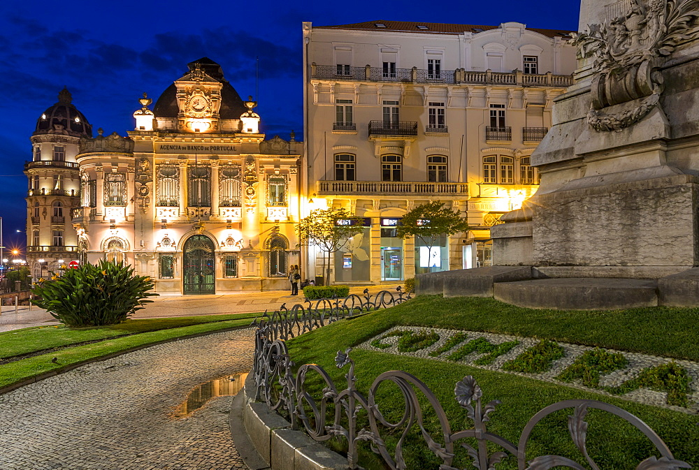Joaquim António de Aguiar Monument and Bank of Portugal Building at Portagem Square, Coimbra, Portugal, Europe