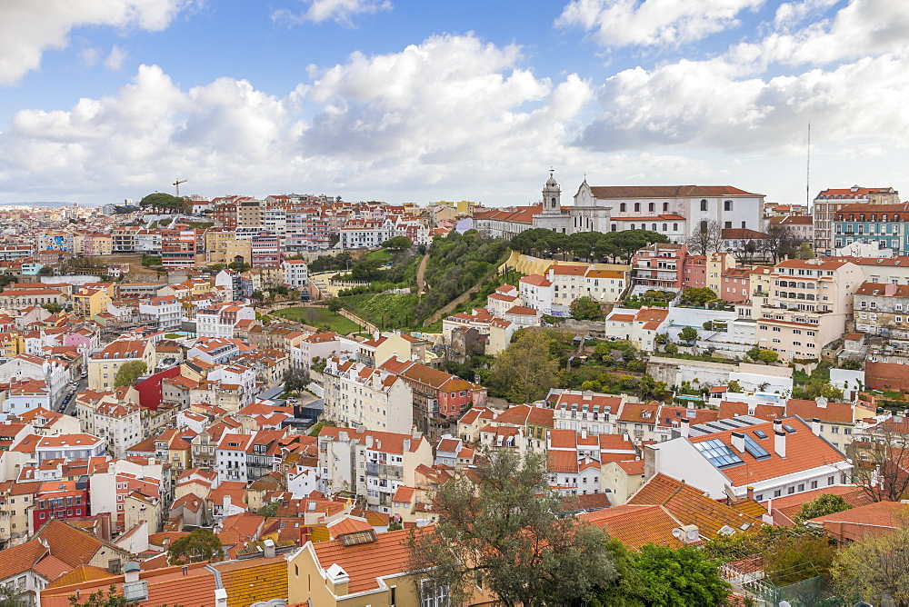 View from Sao Jorge Castle over the city centre, Lisbon, Portgual, Europe
