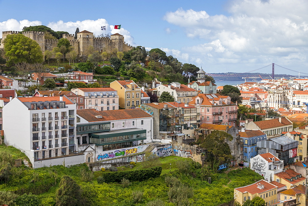View from Sophia de Mello Breyner Andresen Lookout to the Sao Jorge Castle and the city centre, Lisbon, Portugal, Europe
