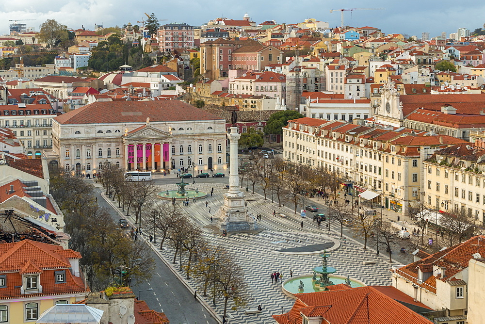 View from Santa Justa Lookout over Rossio Square (Pedro IV Square), Lisbon, Portugal, Europe