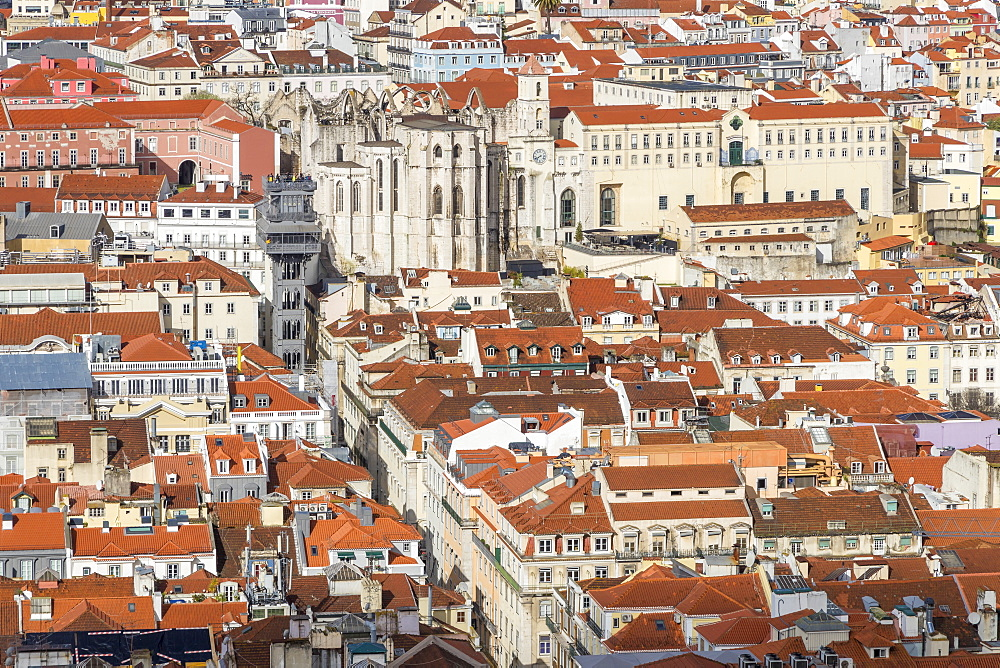 View from São Jorge Castle to the Santa Justa Elevator and the Carmo Convent, Lisbon, Portgual, Europe