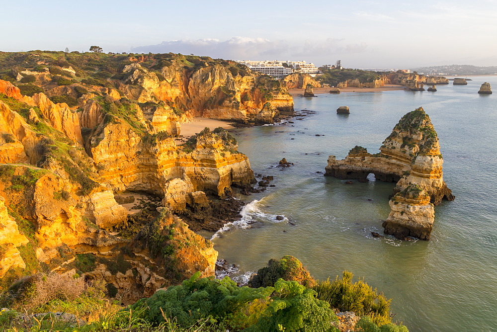 Rocky coastline near Lagos, Algarve, Portugal, Europe