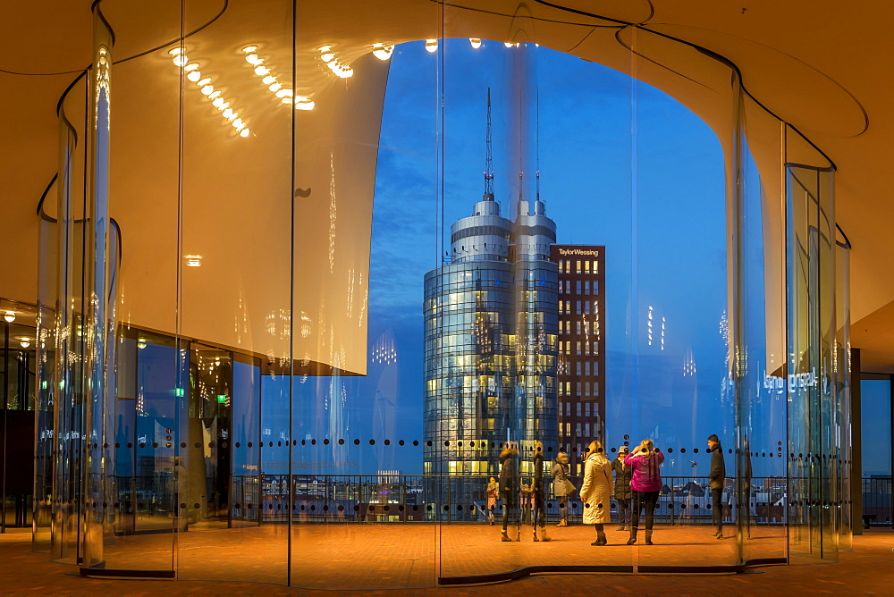 View from the Plaza of the Elbphilharmonie building, Hamburg, Germany, Europe