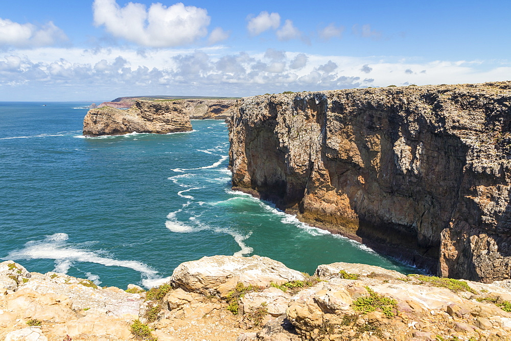 Rocky coastline at Cape Saint-Vincent, Sagres, Algarve, Portugal, Europe