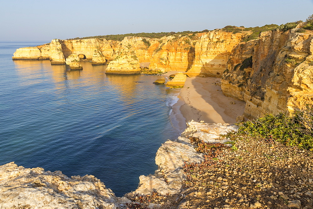 Elevated view over Marinha Beach, Algarve, Portugal, Europe