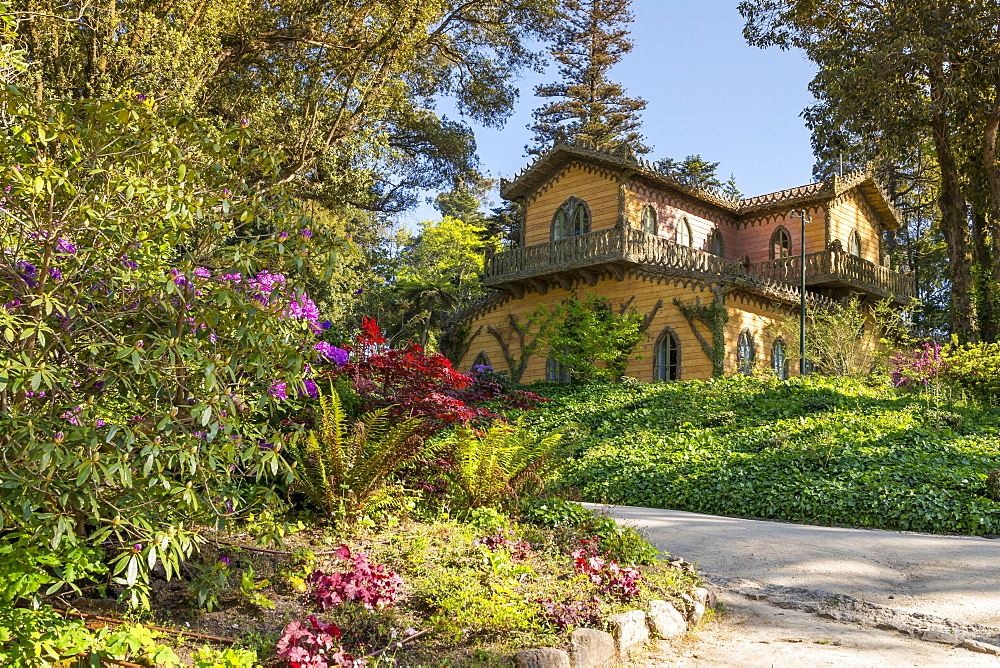 Chalet and Garden of the Countess D'Edla inside the Pena national park, Sintra, Portugal, Europe