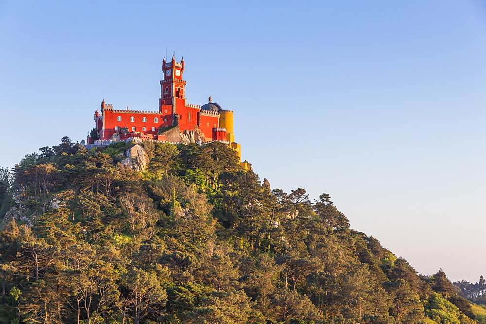 The Pena Palace, UNESCO World Heritage Site, seen from a natural lookout, Sintra, Portugal, Europe