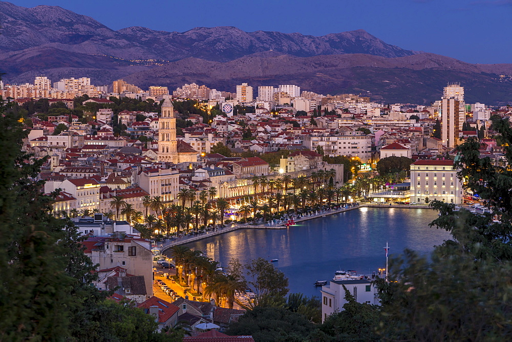 View from Marjan Hill over the old town at dusk, Split, Croatia, Europe