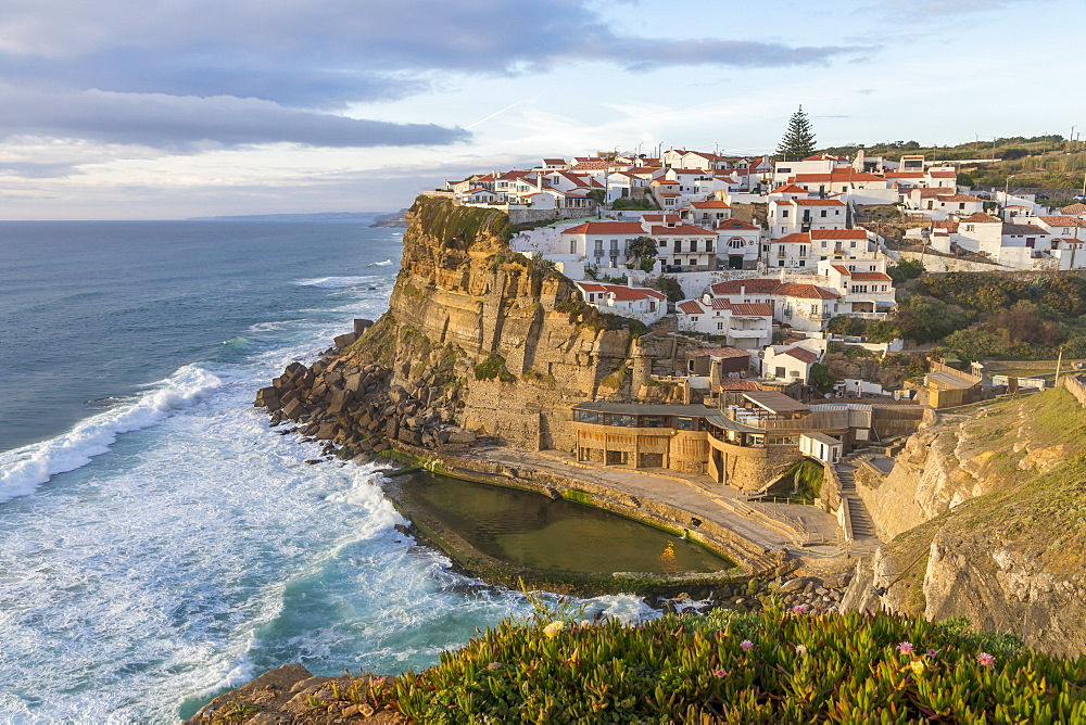 View from a lookout over the village, Azenhas do Mar, Sintra Municipality, Portugal, Europe