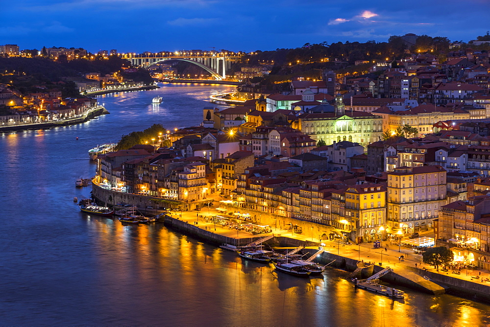 View over the old town from Serra do Pilar Monastery at dusk, Porto, Portugal, Europe