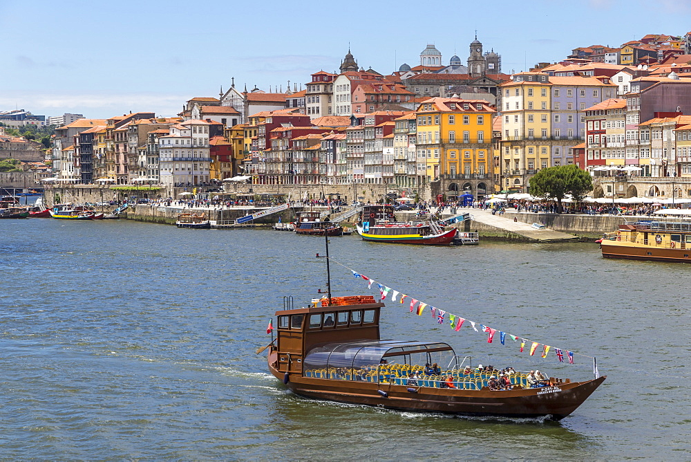 View from Douro River to the historical Ribeira Neighborhood, UNESCO World Heritage Site, Porto, Portugal, Europe