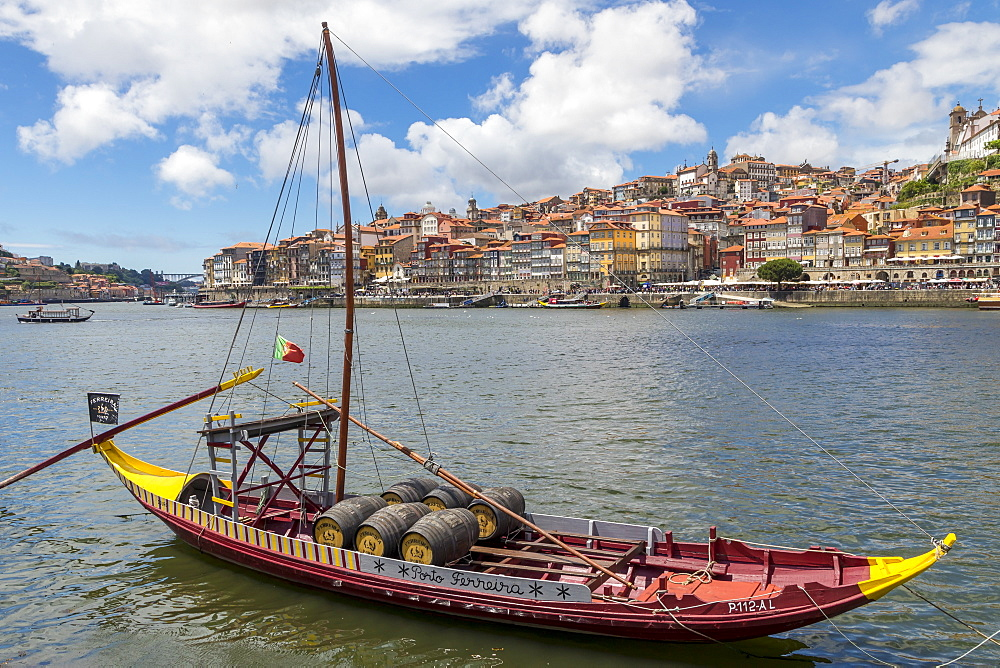 Traditional Rabelo boat on Douro River, Porto, Portugal, Europe