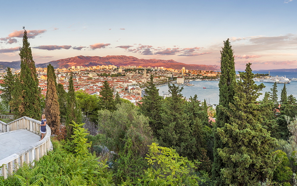 View from Marjan Hill over the old town of Split at sunset