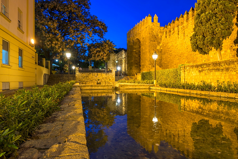 Historical Almodavar Gate at dusk, Cordoba, Andalusia, Spain, Europe