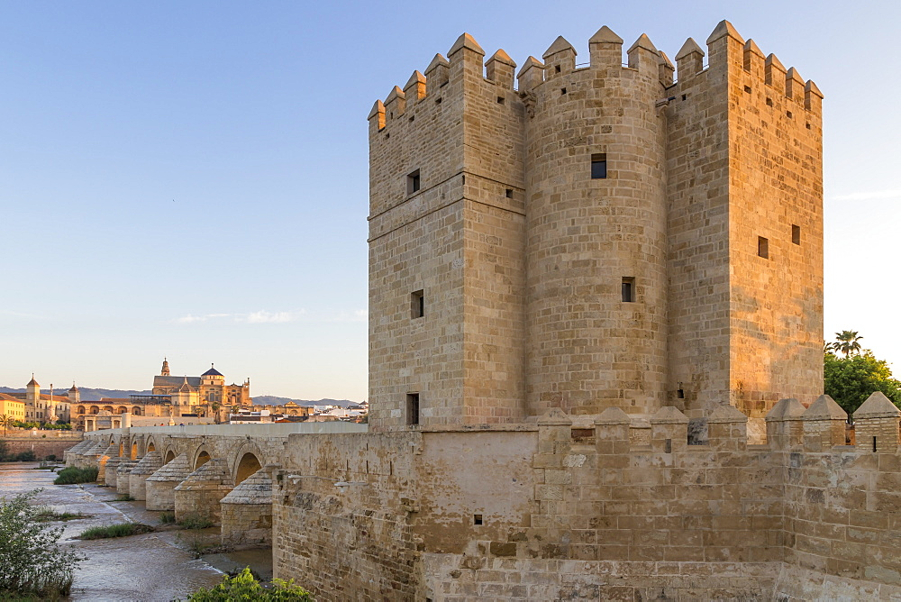 Calahorra Tower, UNESCO World Heritage Site, with view to the Mosque-Cathedral, Cordoba, Andalusia, Spain, Europe