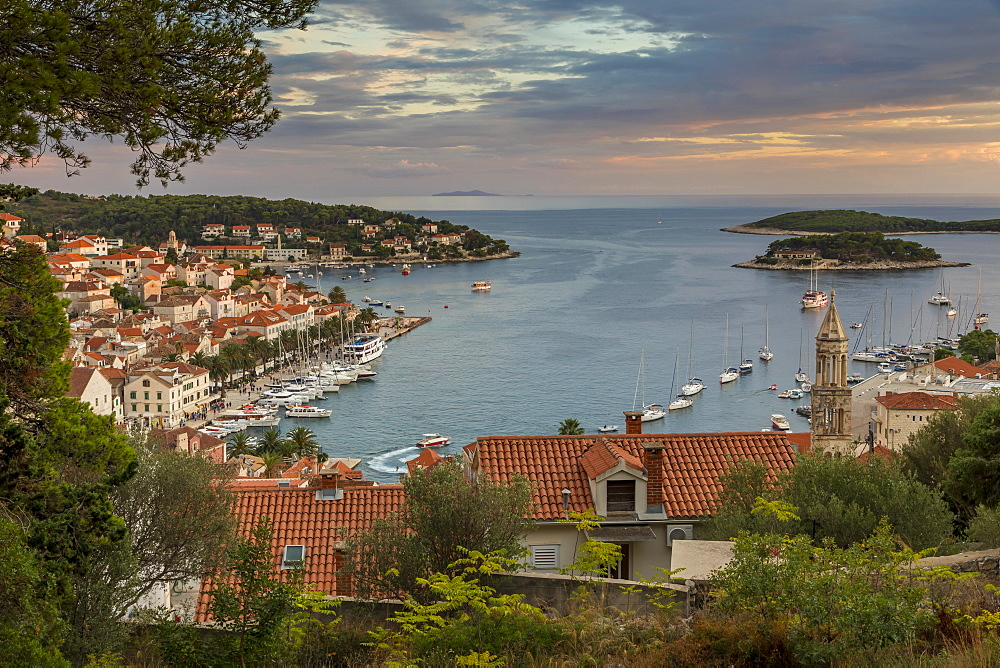 The old town of Hvar Town at sunset