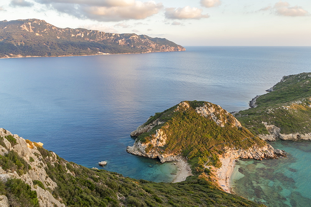 Elevated view from a lookout over the Porto Timoni Double Bay at sunset, Afionas, Corfu, Greece, Europe