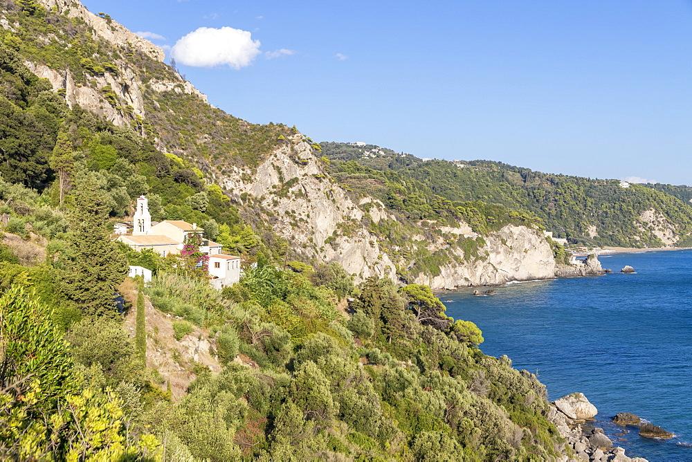 Small monastery situated in the hills above Mirtiotissa Beach, Corfu, Greece, Europe