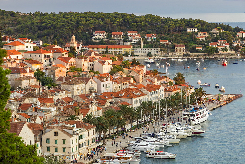 The old town of Hvar Town at sunset, Hvar, Croatia, Europe