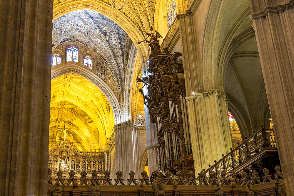 Interior of the Cathedral of Seville, UNESCO World Heritage Site, Seville, Andalusia, Spain, Europe