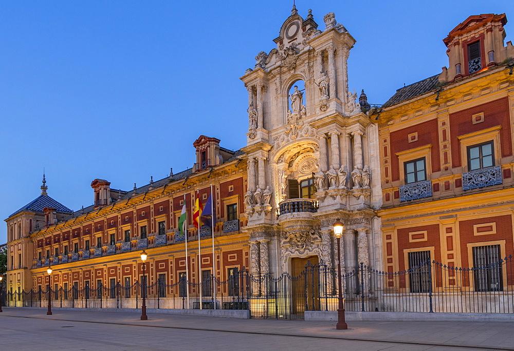 San Telmo Palace at dusk, Seville, Andalusia, Spain, Europe