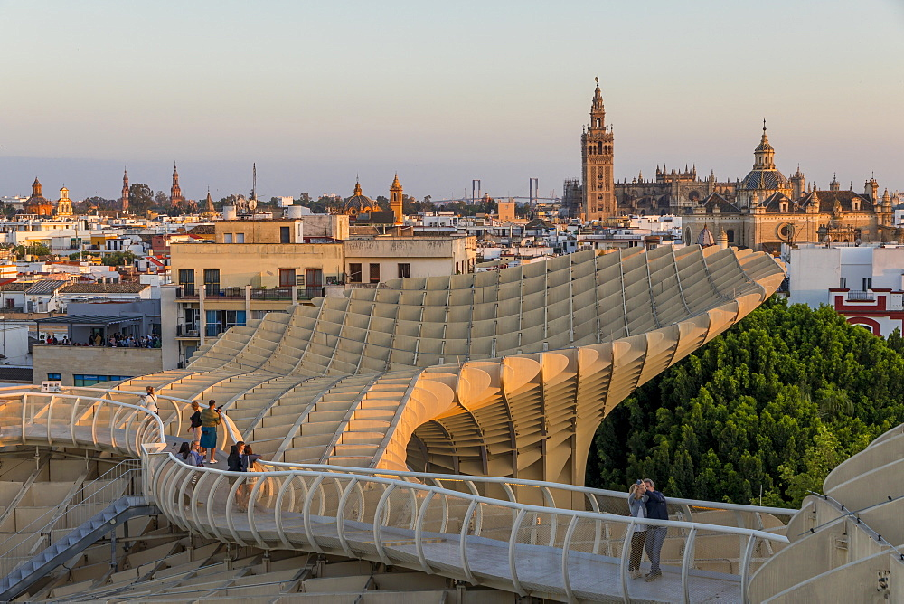 View from the top of Metropol Parasol over the city centre, Seville, Andalusia, Spain, Europe